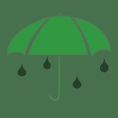 Parapluie vert avec des gouttes de pluie vertes