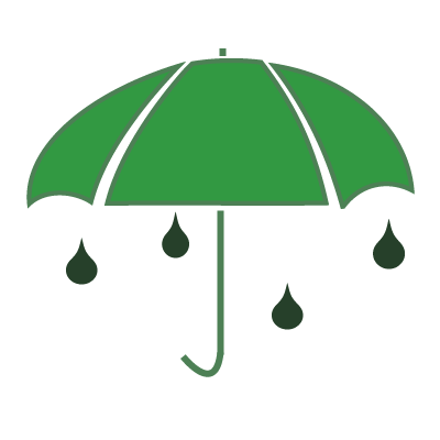 A green umbrella and green raindrops.