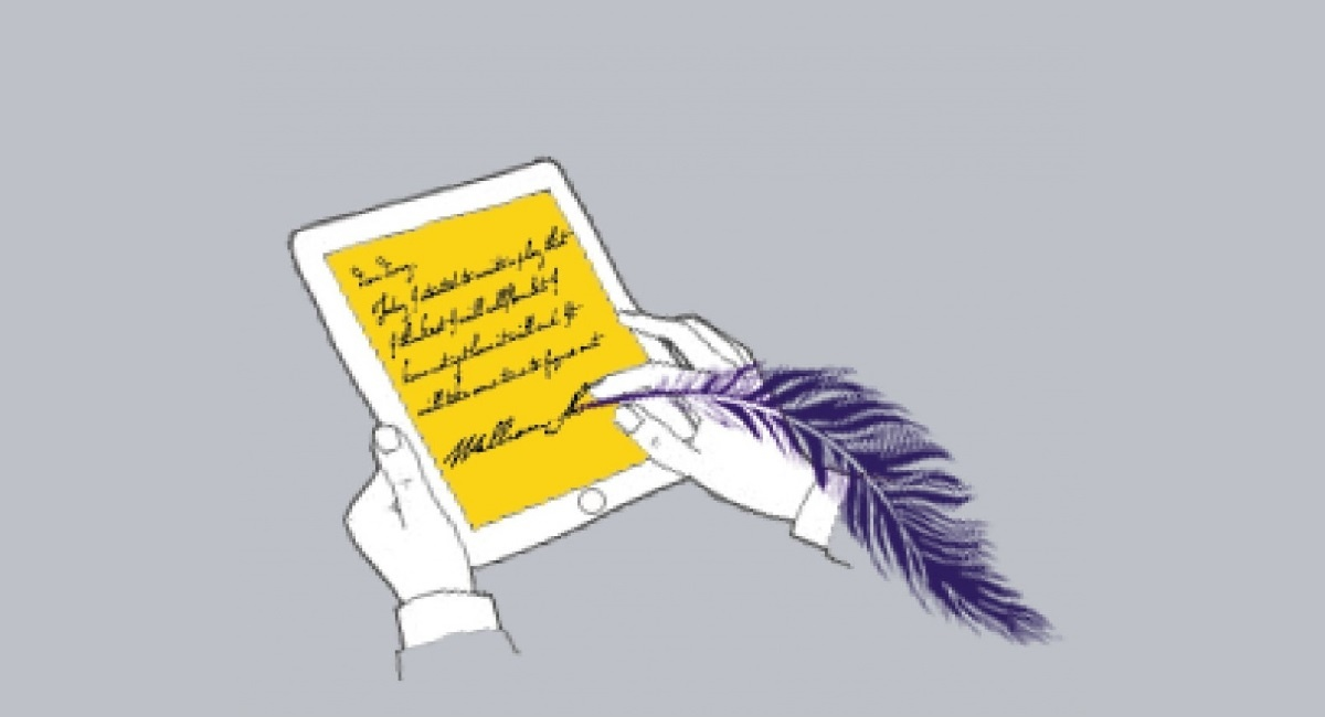 Hands holding a tablet and writing on it with a quill