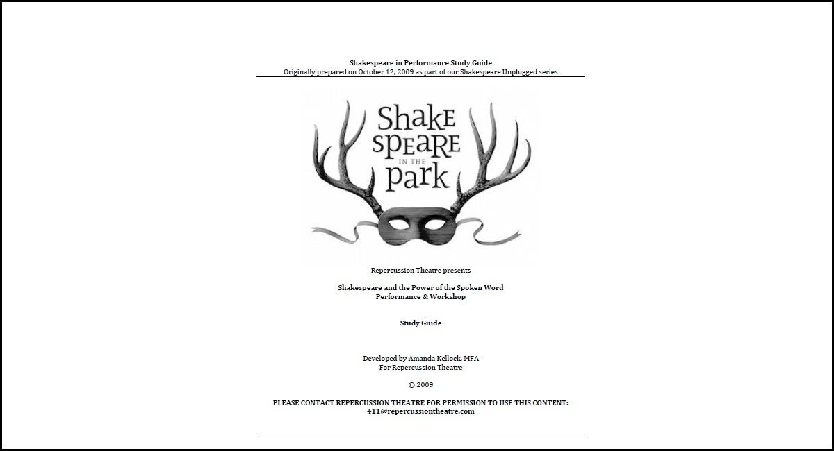 Screenshot of the Shakespeare In Performance Study Guide